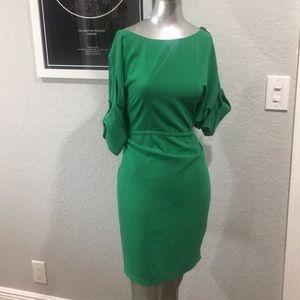 Emerald Calvin Klein dress with gold detailing